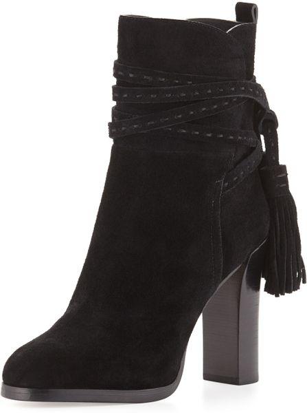 michael kors palmer suede tassel boots in black