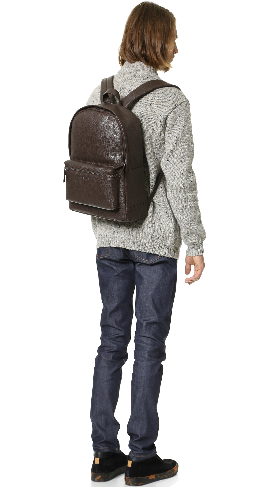 b95972a40304 Michael Kors Bryant Pebbled Leather Backpack in Brown for Men - Lyst