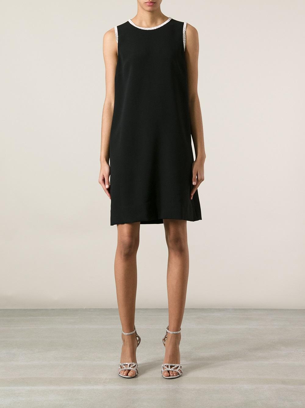 Dolce & gabbana Sleeveless Shift Dress in Black | Lyst