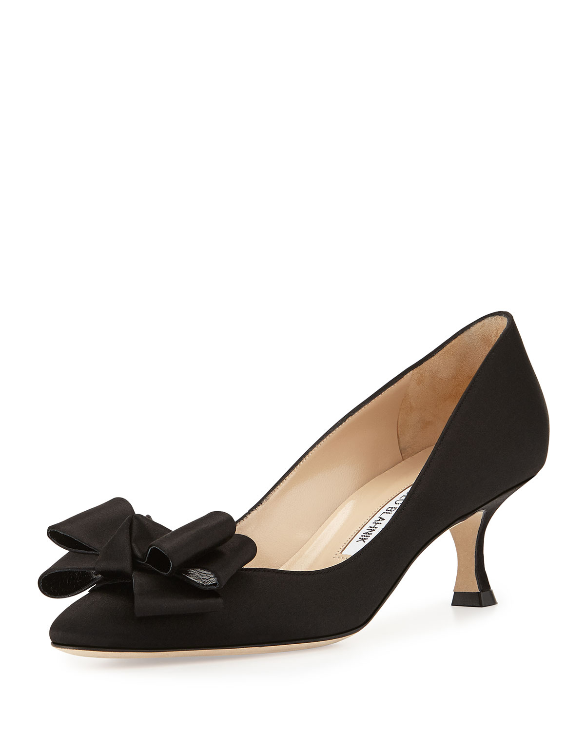 Black Satin Kitten Heel Shoes