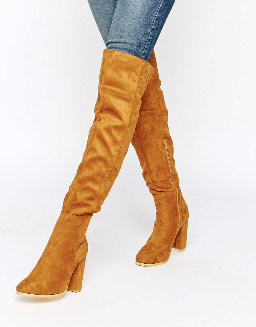 Daisy street Tan Block Heel Over The Knee Boots in Brown | Lyst