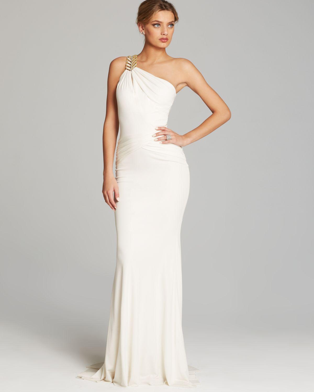 Lyst - Badgley Mischka Gown One Shoulder Grecian Drape Jersey ...