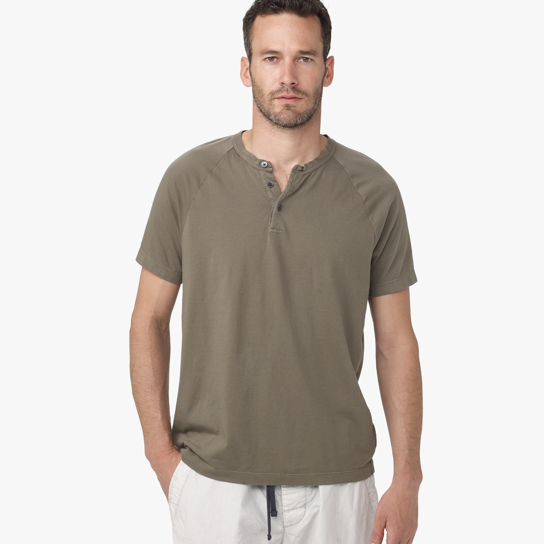 James perse brushed cotton henley in green for men lyst for James perse henley shirt