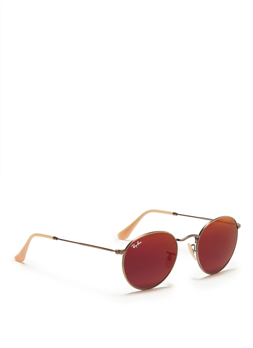 7e03da75a2 ... wholesale lyst ray ban round metal mirror sunglasses in red 33545 f17ee
