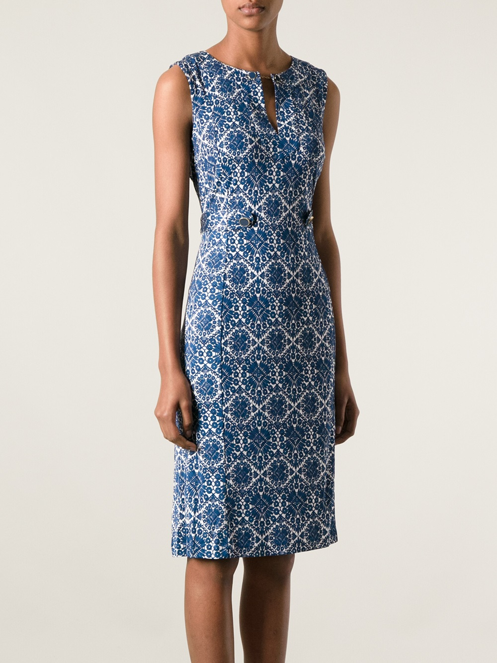 Lyst tory burch printed dress in blue for Tory burch fashion island