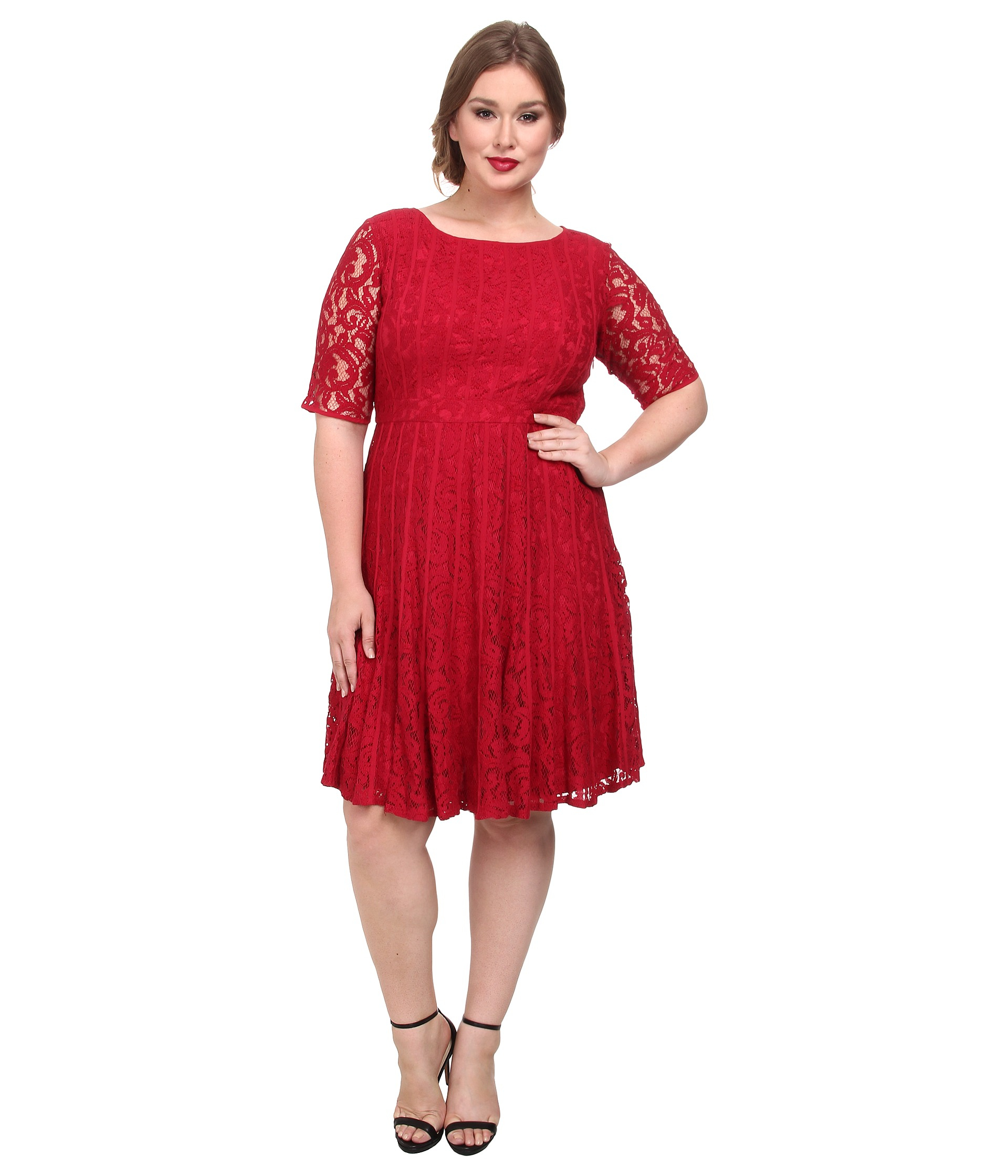 43f5b3e8e25 Lyst - Adrianna Papell Plus Size Lace Fractured Fit   Flare Dress in Red