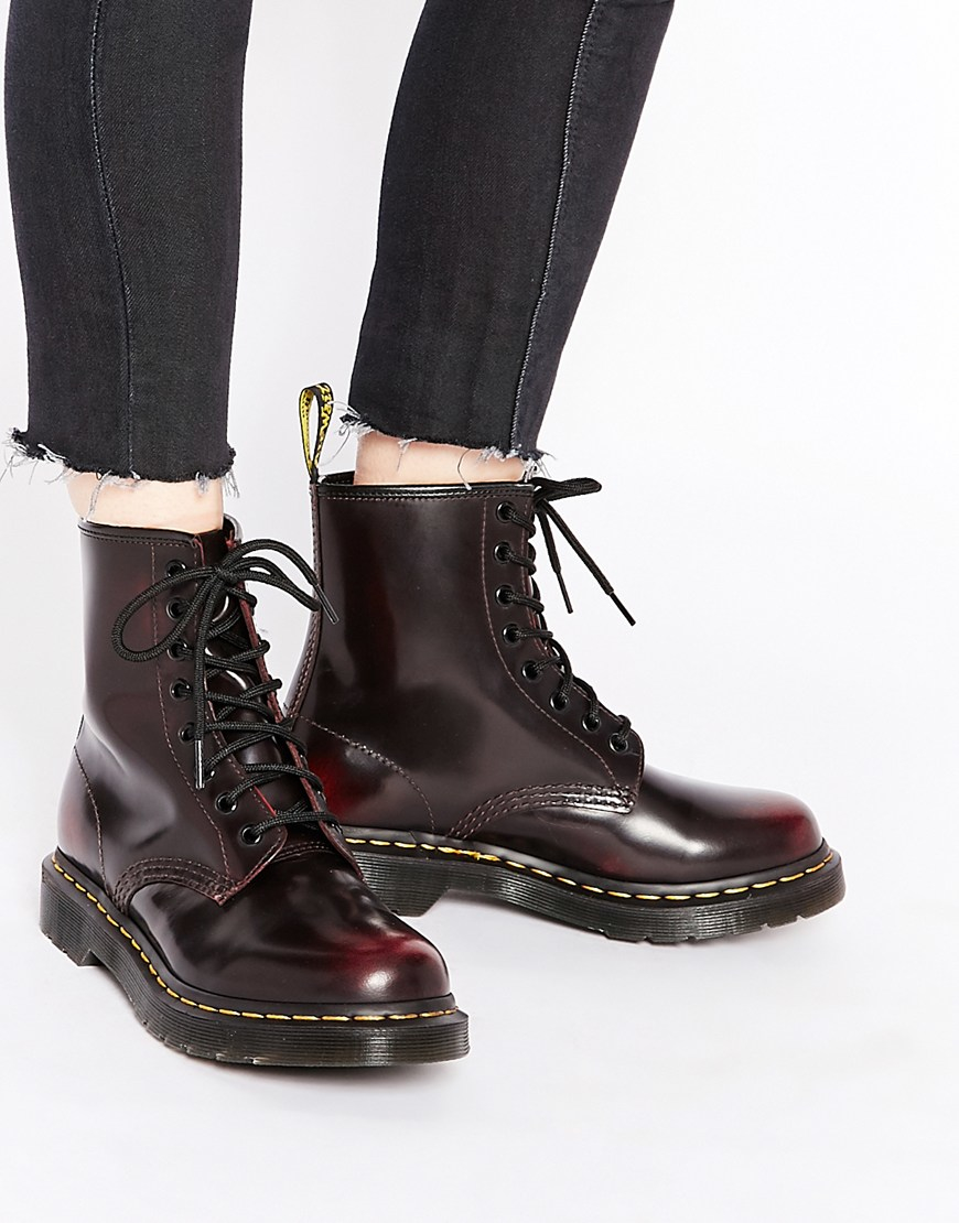 Dr Martens 1460 Cherry Red Arcadia 8 Eye Boots In Black