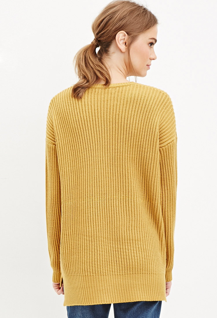 Forever 21 Chunky Ribbed Knit Sweater in Yellow | Lyst