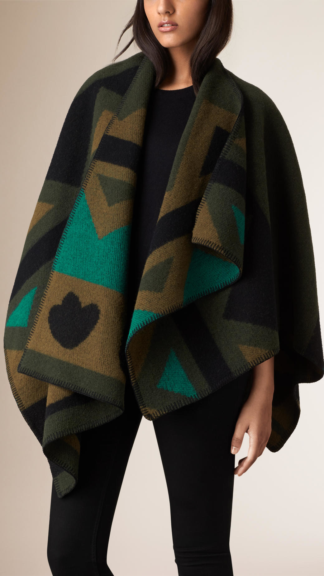 Lyst Burberry Graphic Wool And Cashmere Blanket Poncho