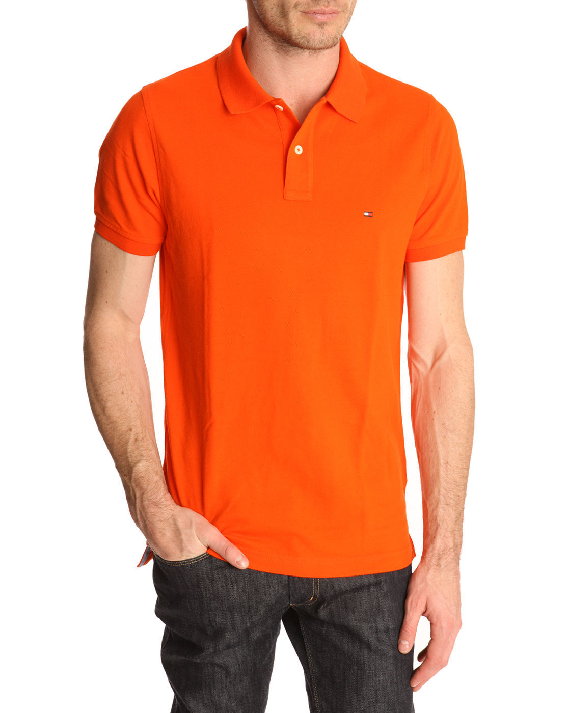 Tommy hilfiger slim fit orange polo shirt contrasting for Mens orange polo shirt