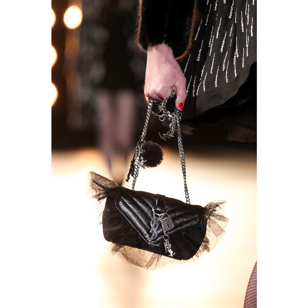 Saint Laurent Monogram Baby Leather Shoulder Bag in Black - Lyst 3b21e46447e53