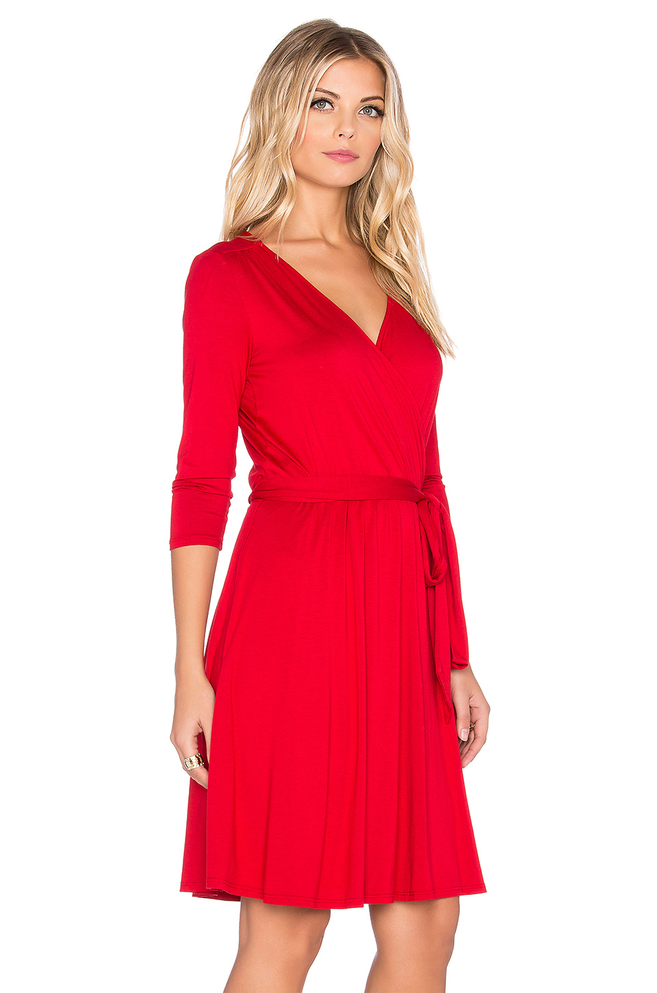 Lyst Three Dots 3 4 Sleeve Wrap Dress In Red