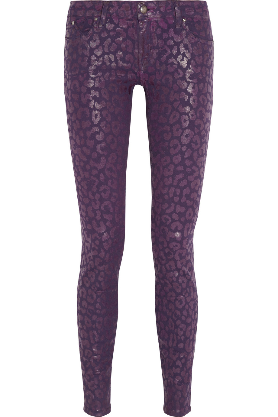 Karl lagerfeld Courtney Animal-Print Skinny Jeans in Purple | Lyst