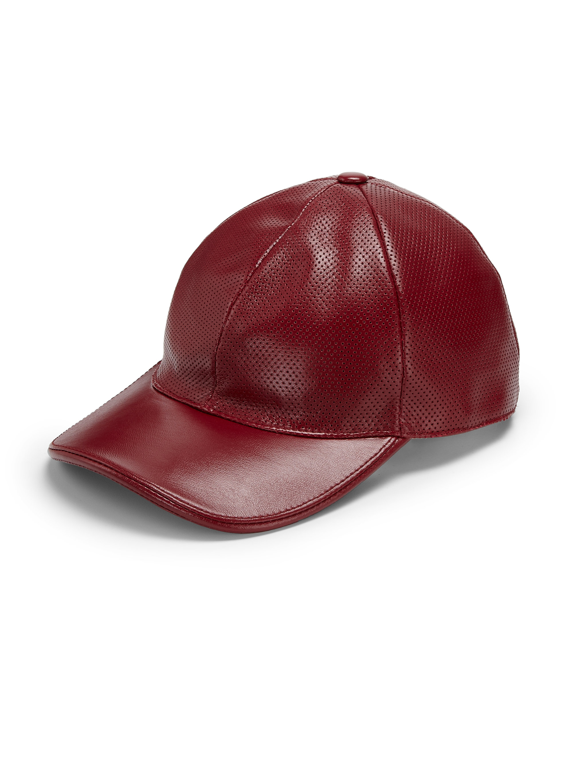 Lyst - Gucci Leather Baseball Hat in Red for Men b8cdfa29b4e