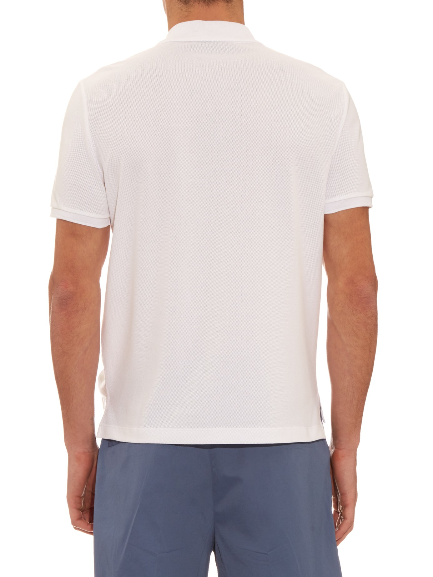 Lyst gucci logo embroidered polo shirt in white for men