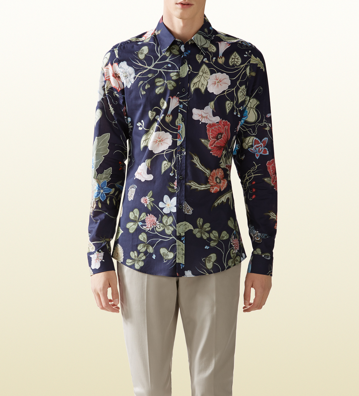 Gucci floral print shirt in blue for men lyst for Blue floral shirt mens