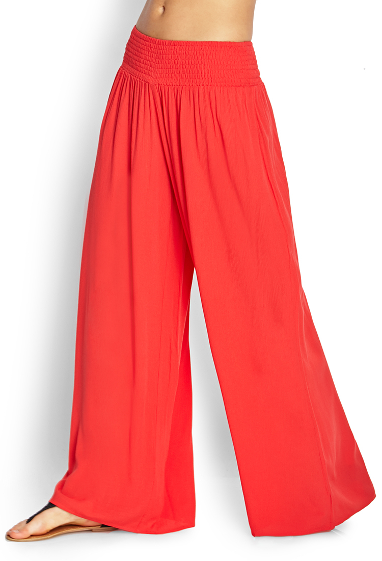 Forever 21 Free Flowing Wide Leg Pants In Red Lyst