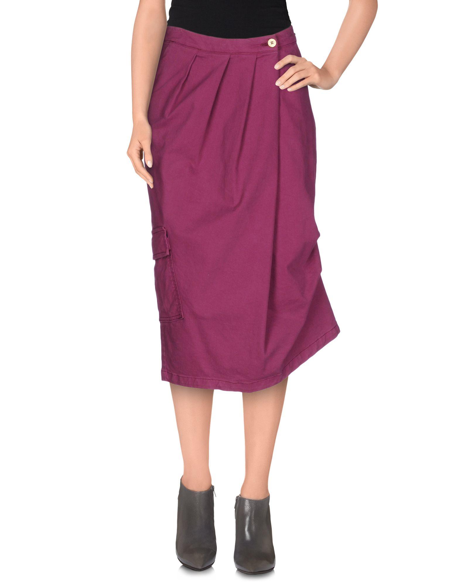 manila grace denim skirt in purple mauve lyst