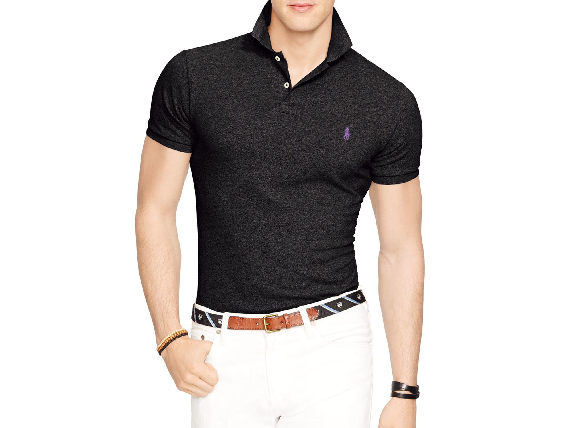 a740f3a330d84 ... greece lyst ralph lauren polo slim fit mesh polo shirt in black for men  1cb7c 8640e