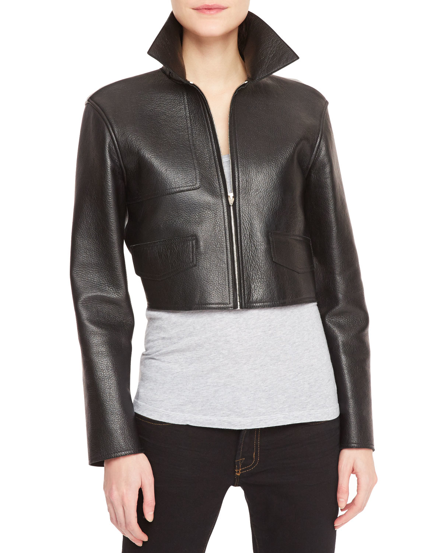 alexander wang leather front knit back cropped moto jacket lyst. Black Bedroom Furniture Sets. Home Design Ideas