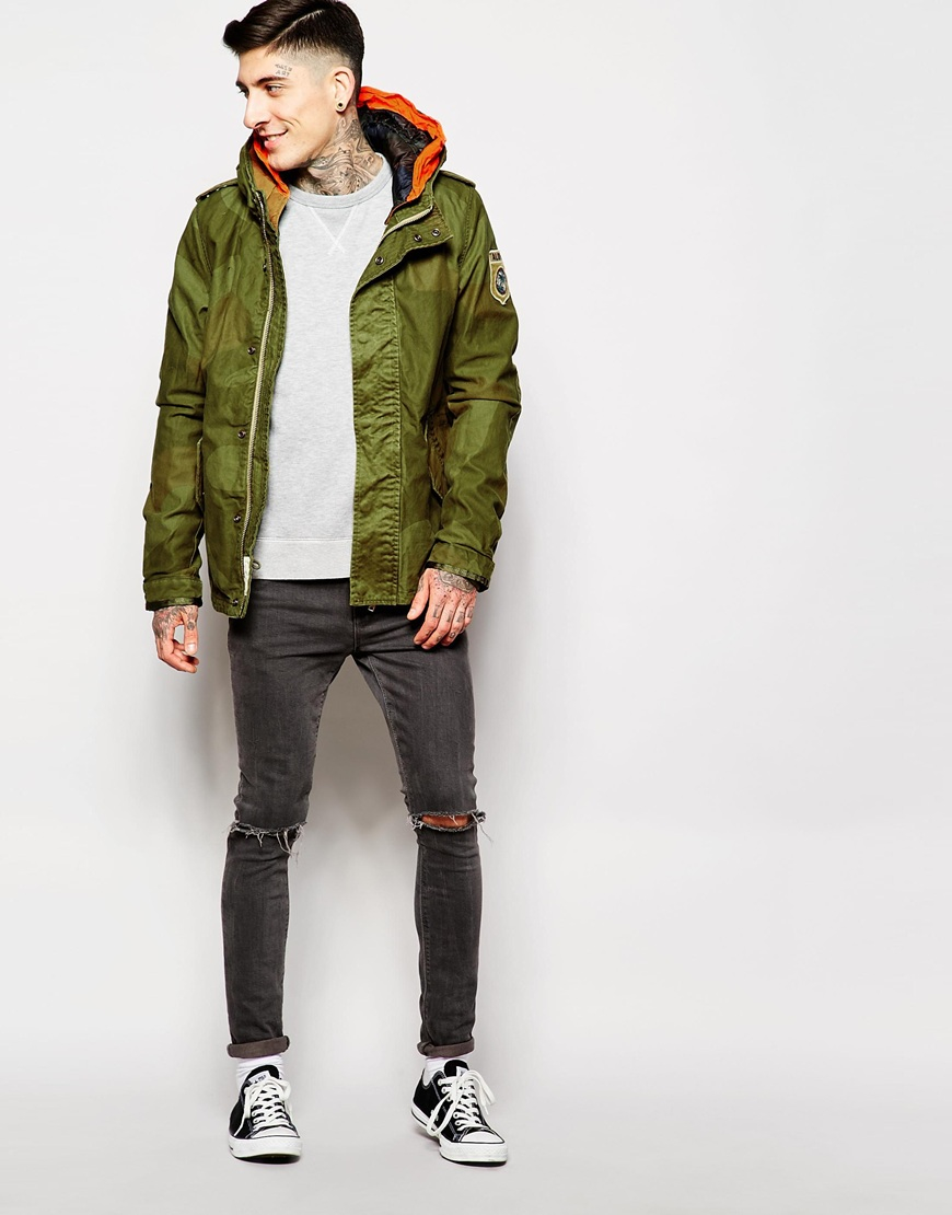 scotch soda short parka jacket in green for men lyst. Black Bedroom Furniture Sets. Home Design Ideas