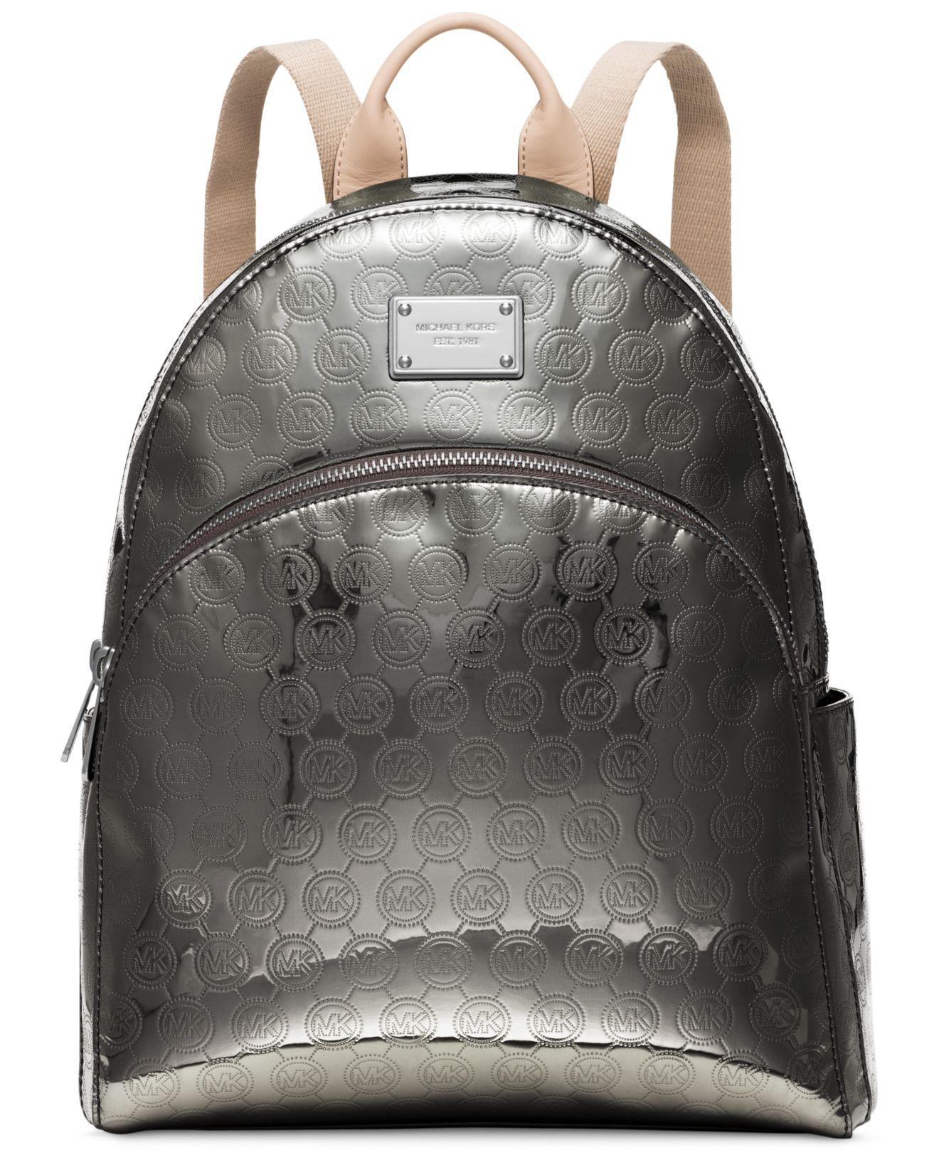 168baae8696d4 ... buy lyst michael kors michael jet set item large backpack in metallic  8fae6 999bb