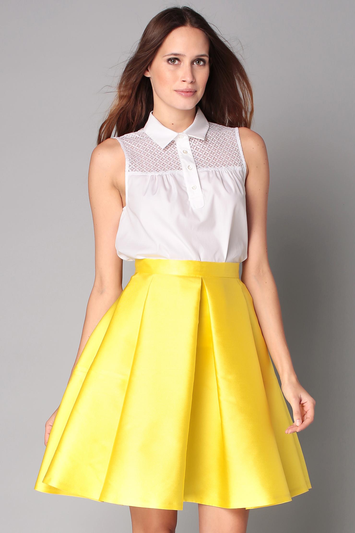 Cheap yellow midi skirt – Cool novelties of fashion 2017 photo blog