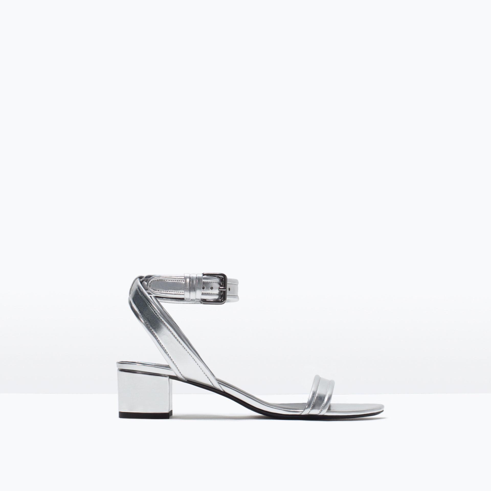 Zara Block Heel Ankle-Strap Sandals Block Heel Ankle-Strap Sandals ...