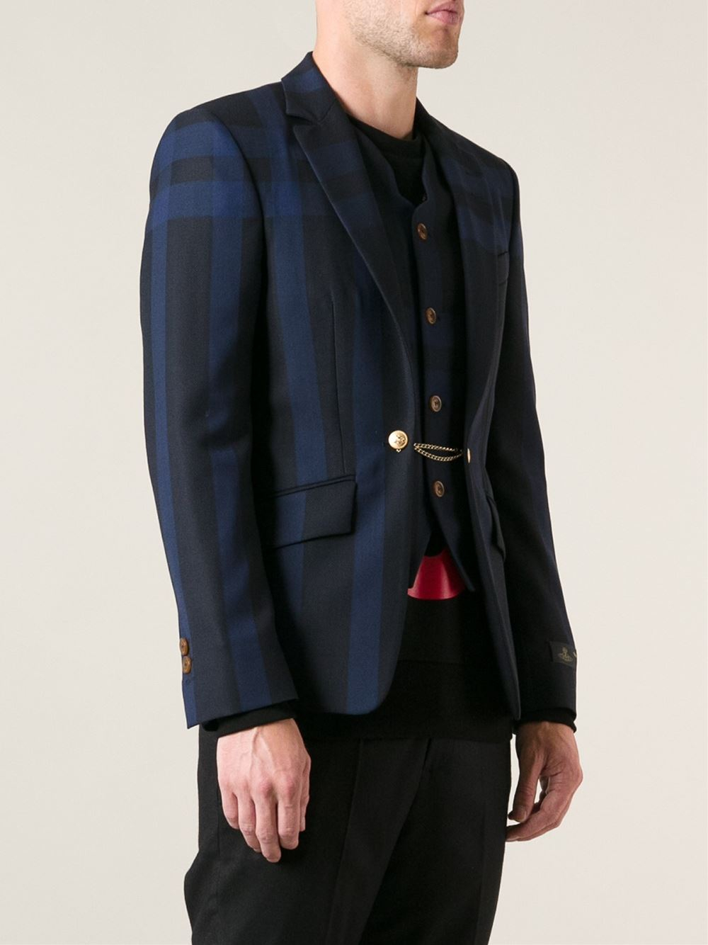 Vivienne Westwood Plaid Blazer In Blue For Men Lyst