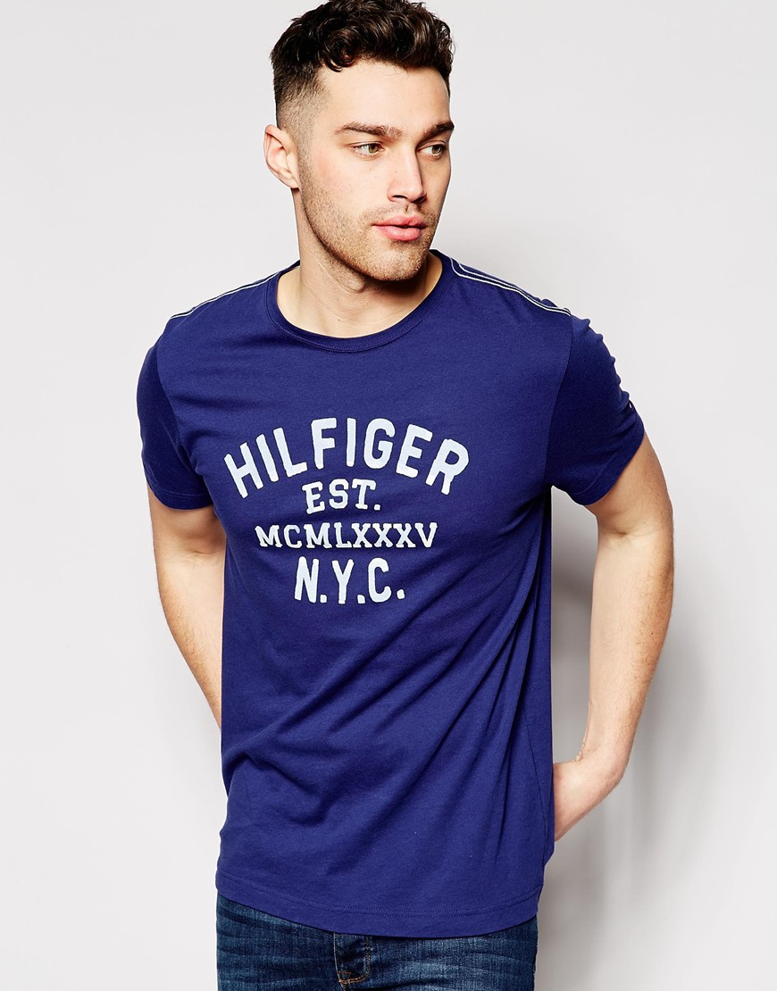 tommy hilfiger t shirt with nyc print in blue for men lyst 870x1110. Black Bedroom Furniture Sets. Home Design Ideas