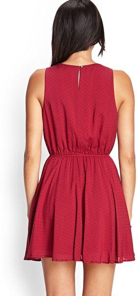 Forever 21 Polka Dot Fit Amp Flare Dress In Red Burgundy