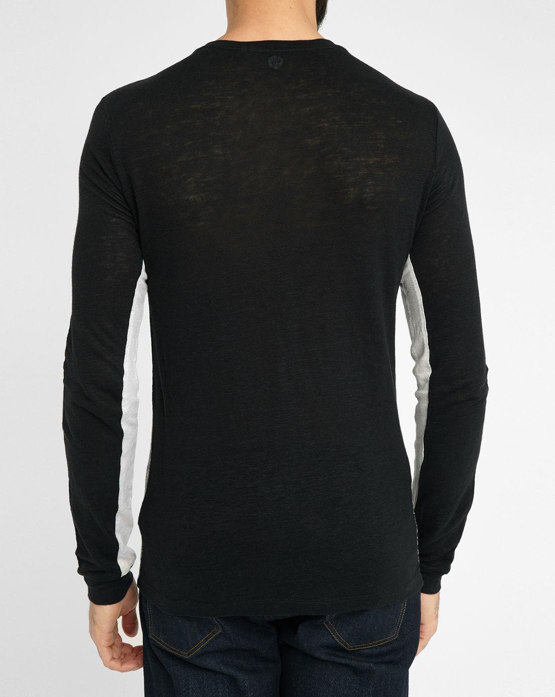 Ikks Black Linen Long-sleeve T-shirt in Black for Men | Lyst