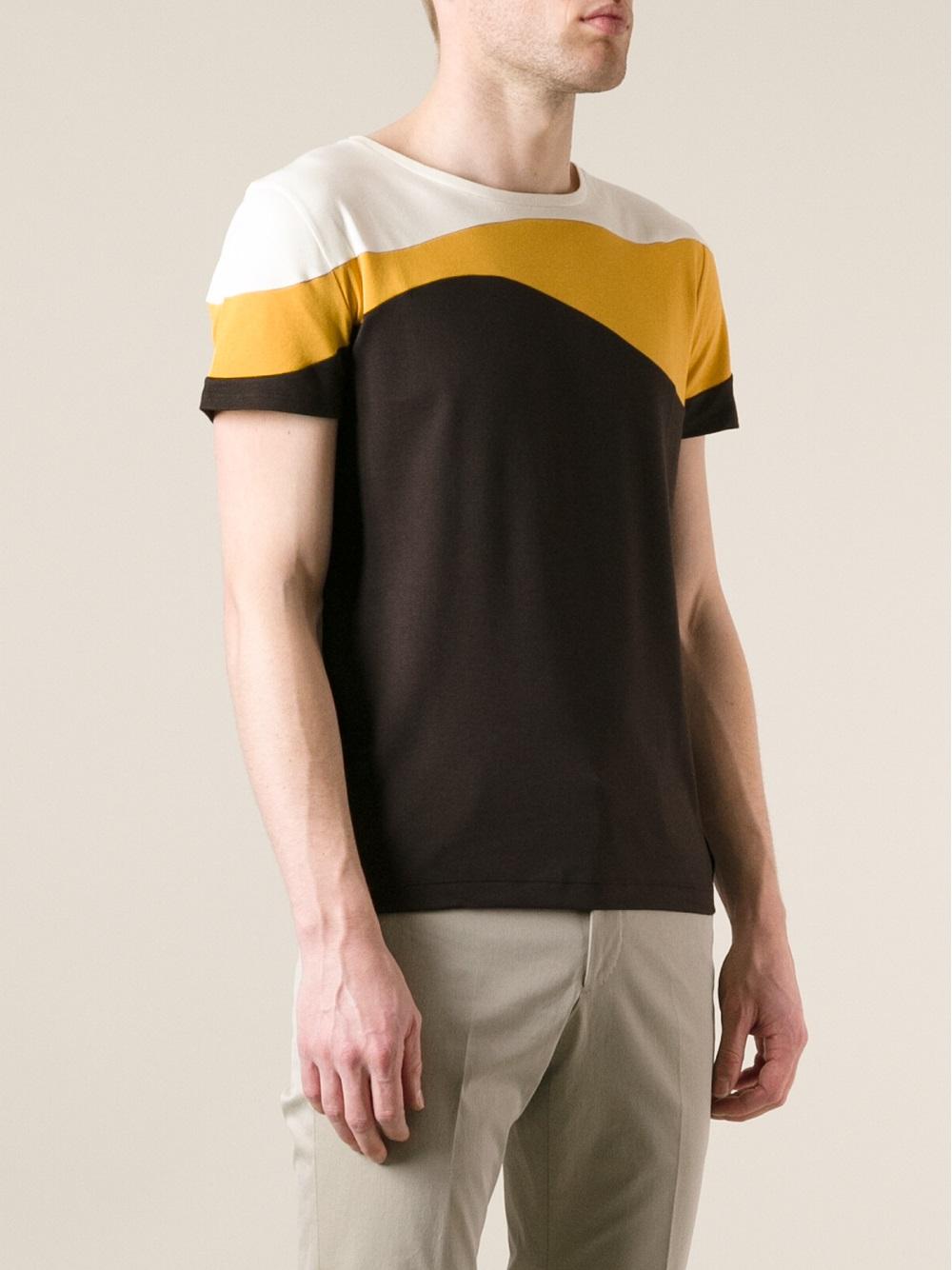 Fendi Colour Block Tshirt In Brown Yellow For Men Lyst