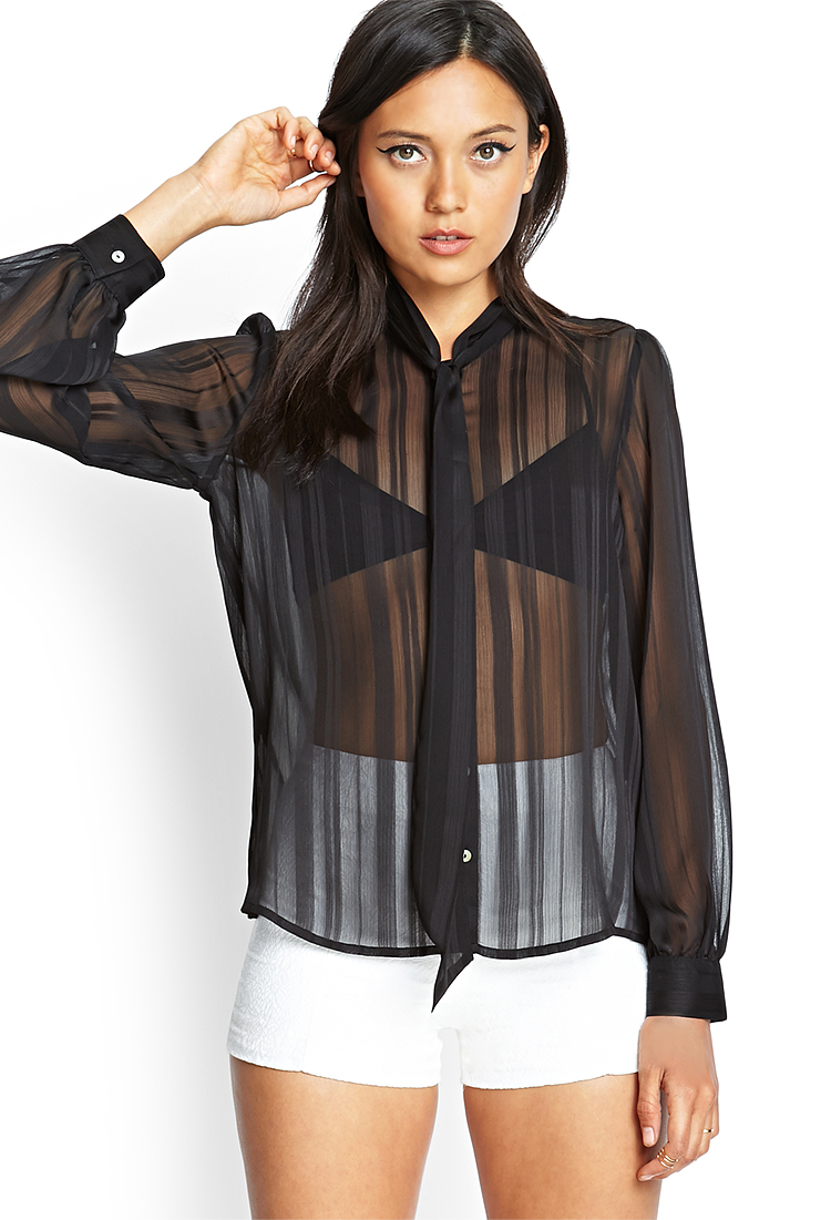 1c4d43555bb2a7 Forever 21 Sheer Striped Tie Blouse in Black - Lyst