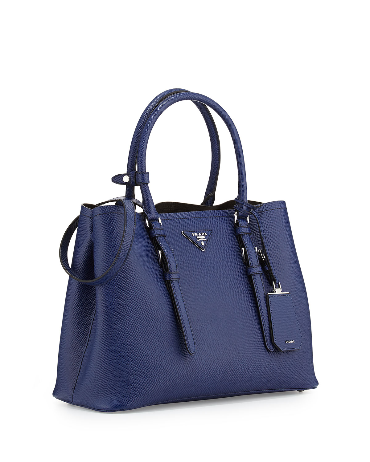 cab14a3eef41 ... shopping prada saffiano cuir covered strap double bag in blue lyst  a1211 65c90