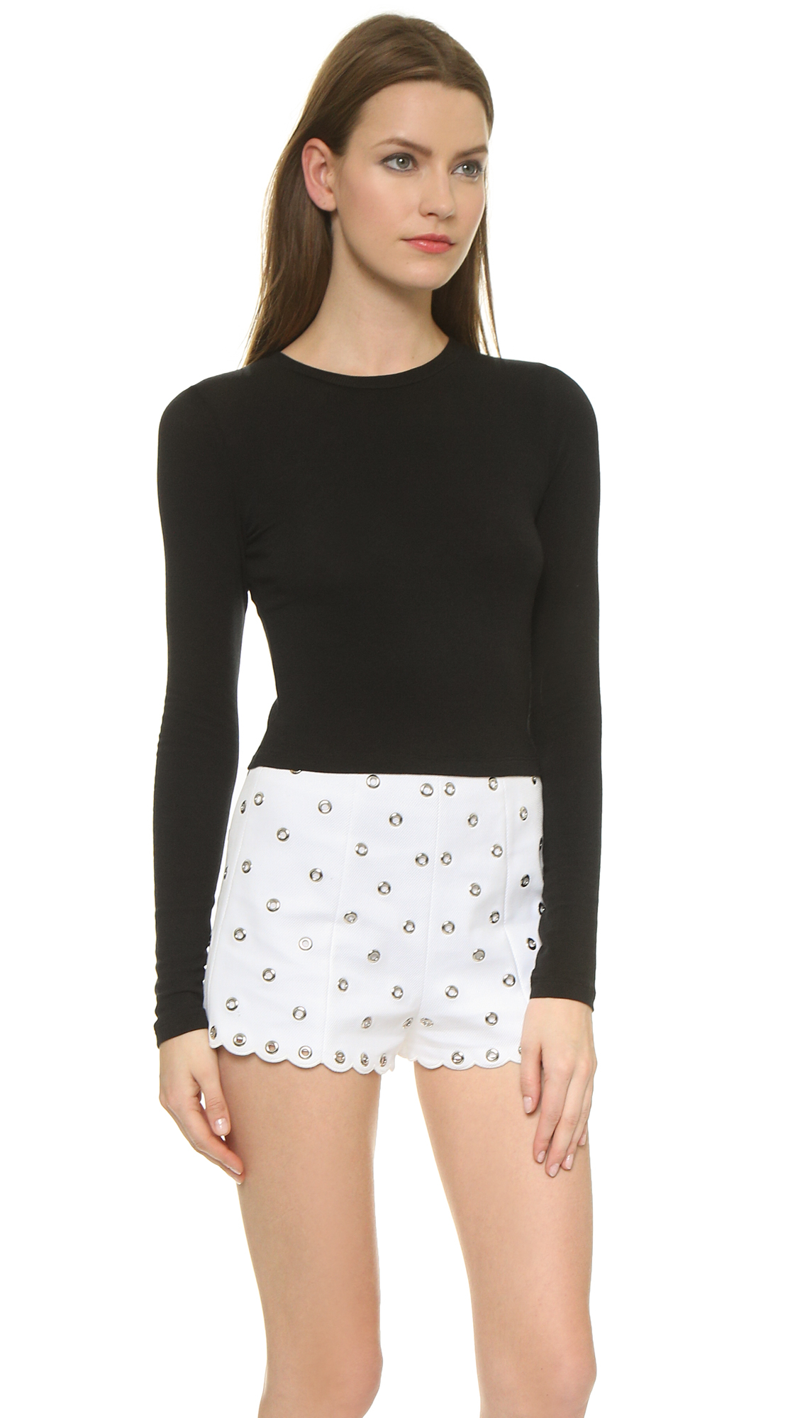 d8e701708d7b7 Air By Alice + Olivia Long Sleeve Crew Crop Top in Black - Lyst