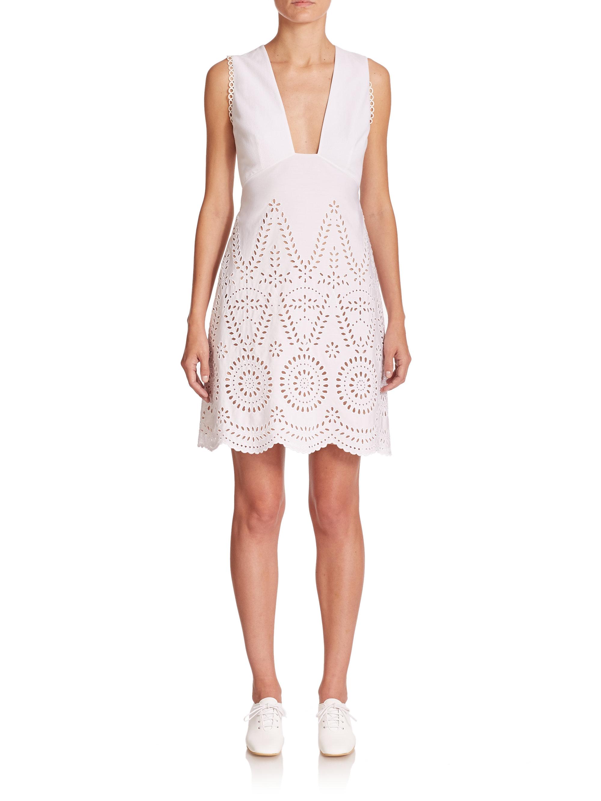 Stella mccartney Cotton Eyelet Dress in White  Lyst