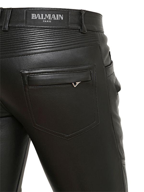 31dc9673 Balmain Nappa Leather Biker Pants in Black for Men - Lyst