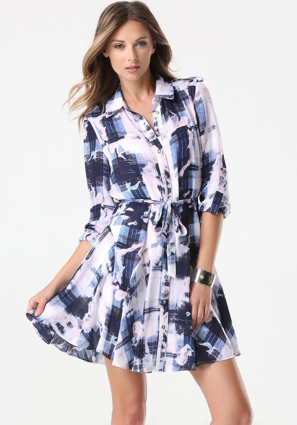 lyst bebe maiden plaid shirt dress in blue. Black Bedroom Furniture Sets. Home Design Ideas