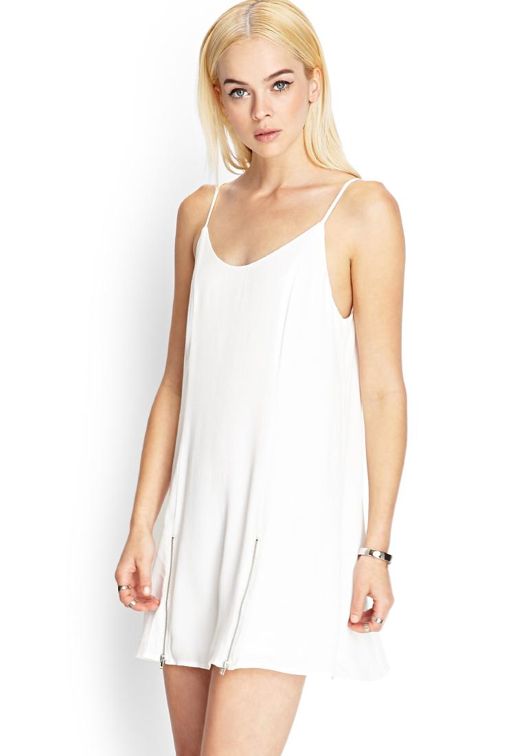 Forever 21 M Slit Slip Dress In White Cream Silver Lyst