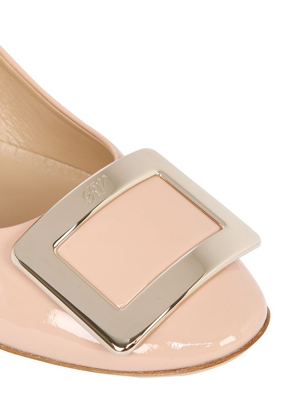 Beige Patent Leather Court Shoes