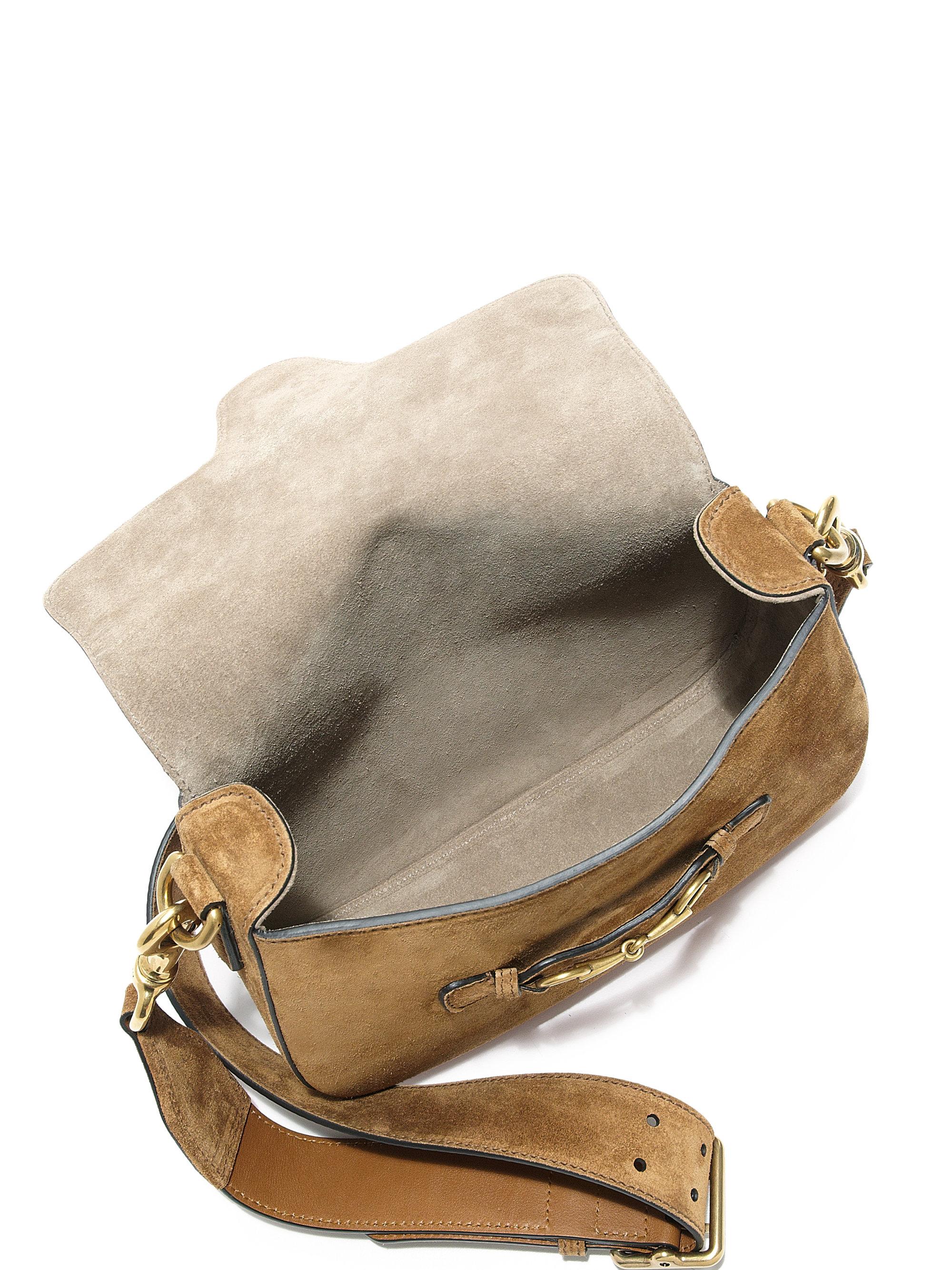a2f71a44fecb1 Lyst - Gucci Lady Web Suede Shoulder Bag in Brown