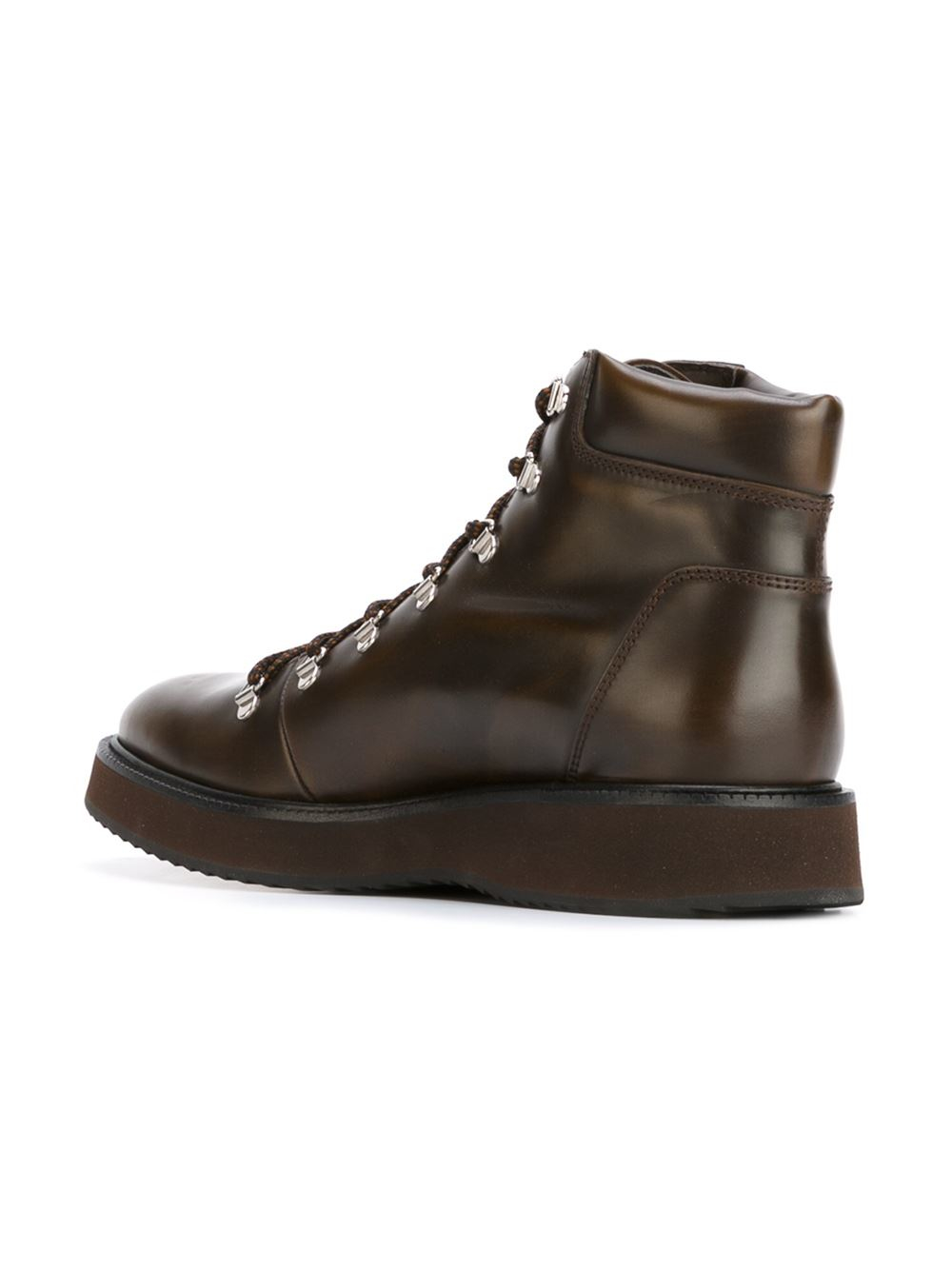 brown lace up leather ankle boots for lyst