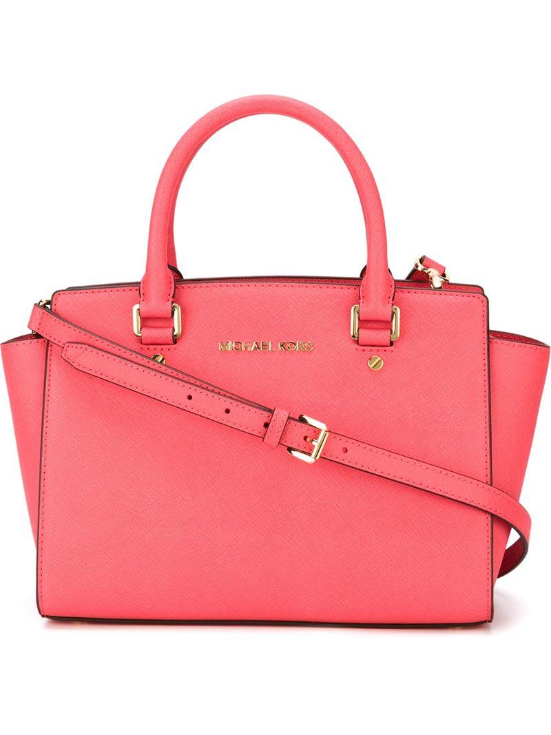 michael michael kors medium selma satchel bag in pink