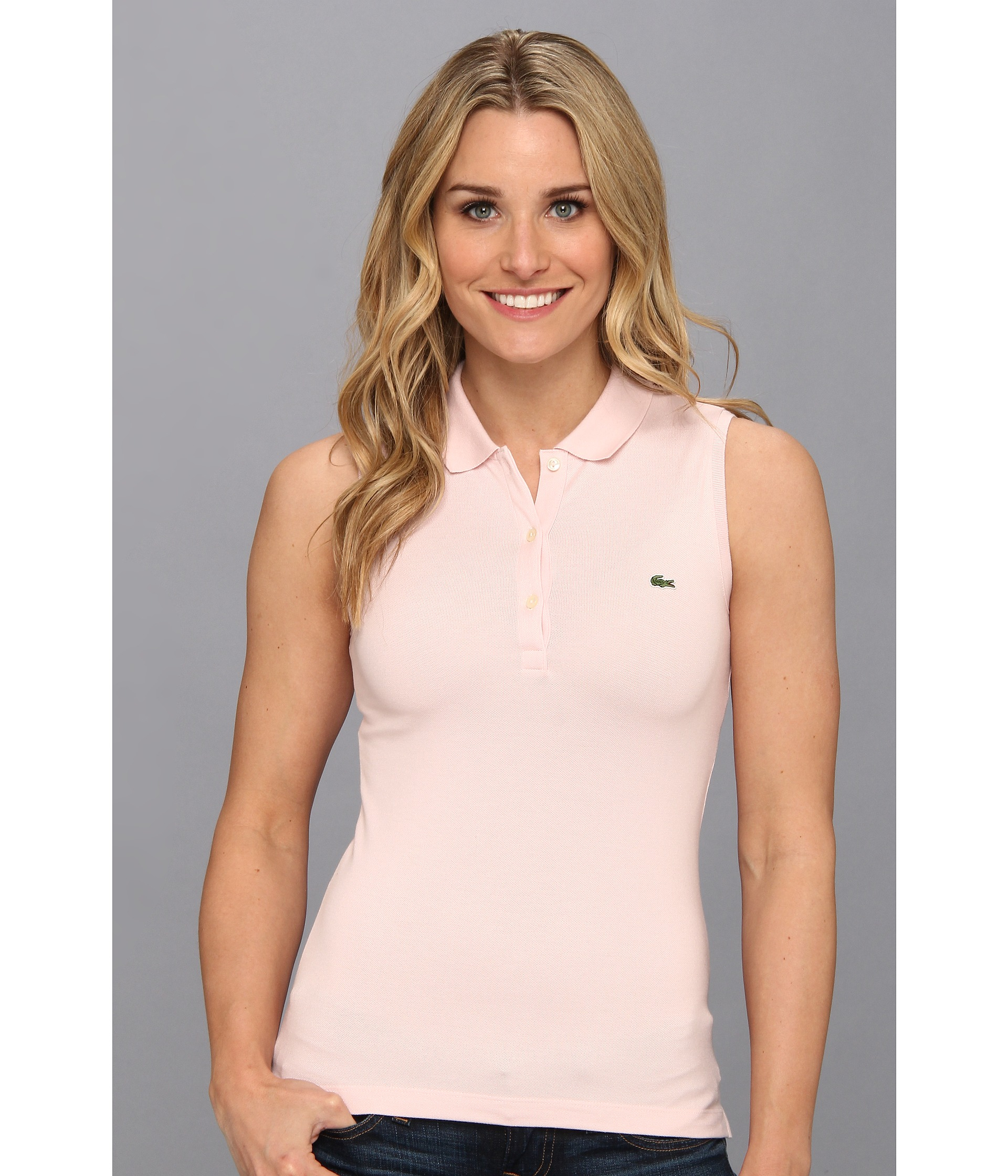 Lyst Lacoste Sleeveless Stretch Pique Polo In Pink