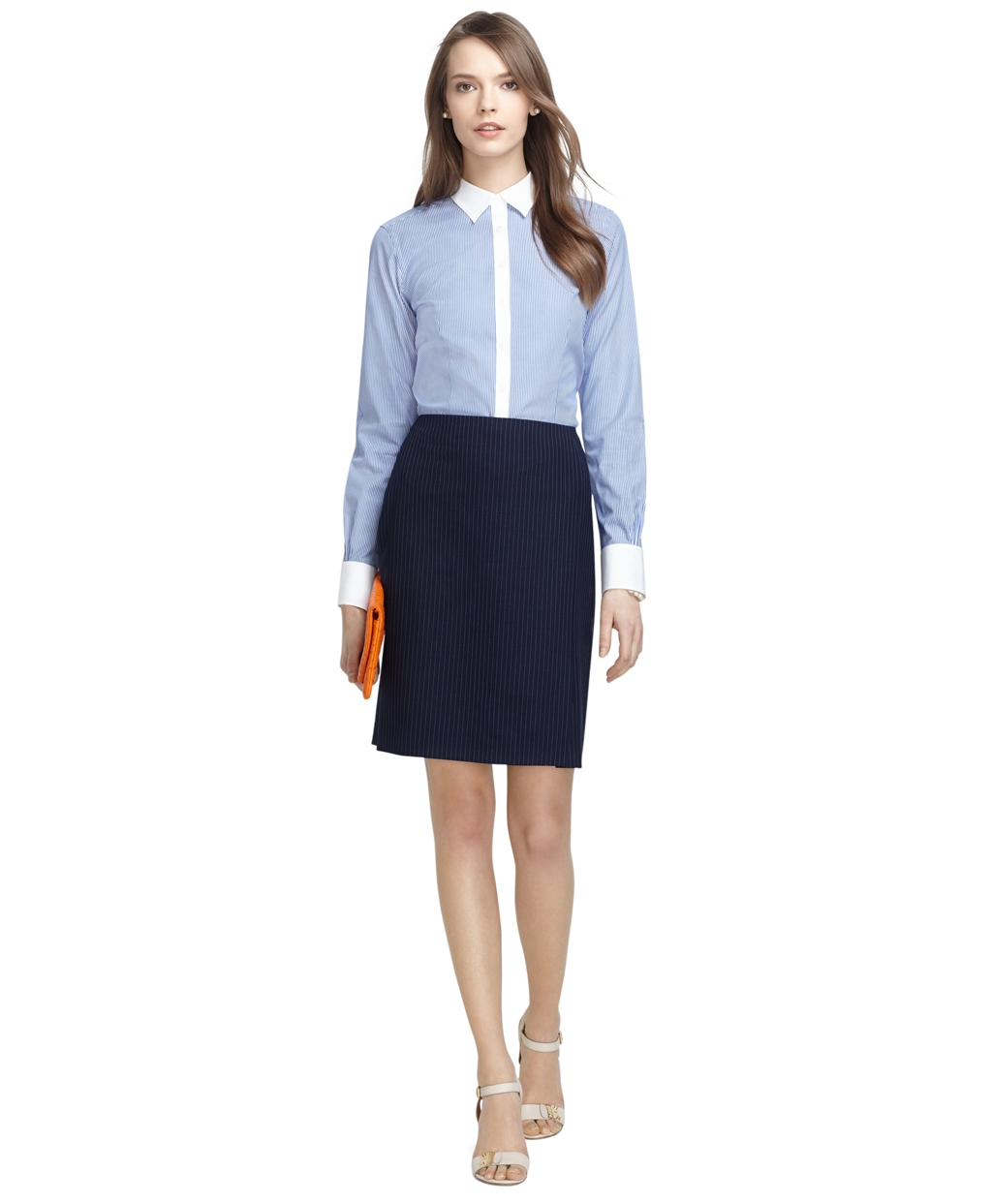 Brooks brothers Petite Pinstripe Pencil Skirt in Blue | Lyst