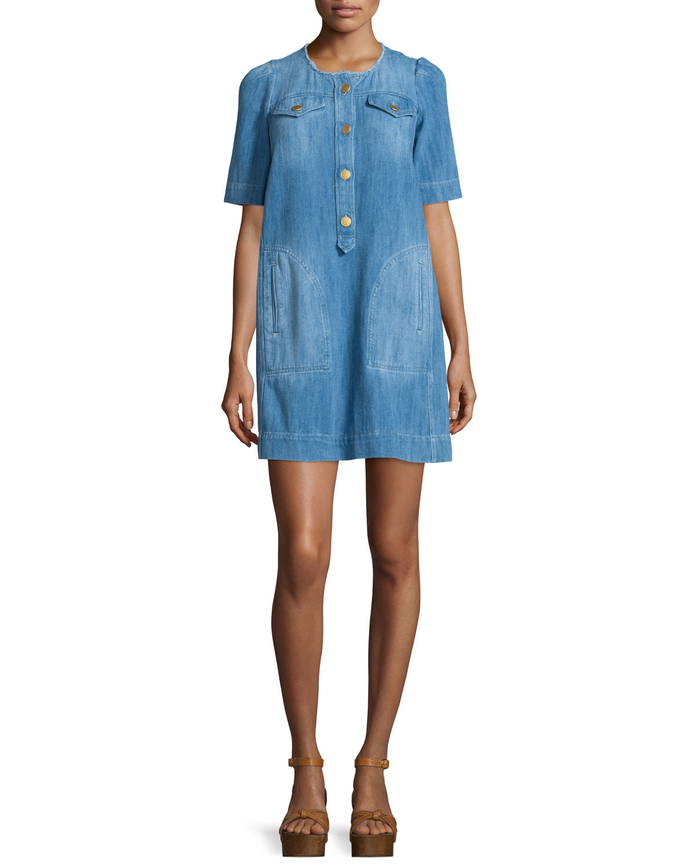 c1a70f79fd Lyst - Étoile Isabel Marant Oriane Half-sleeve Denim Dress in Blue