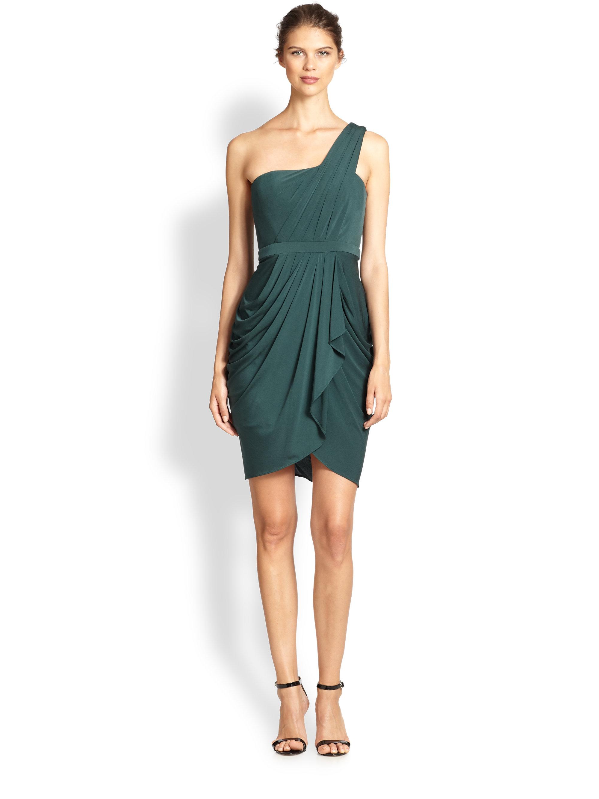 6acb6830aa0 BCBGMAXAZRIA Julietta One-Shoulder Ruched Dress in Green - Lyst