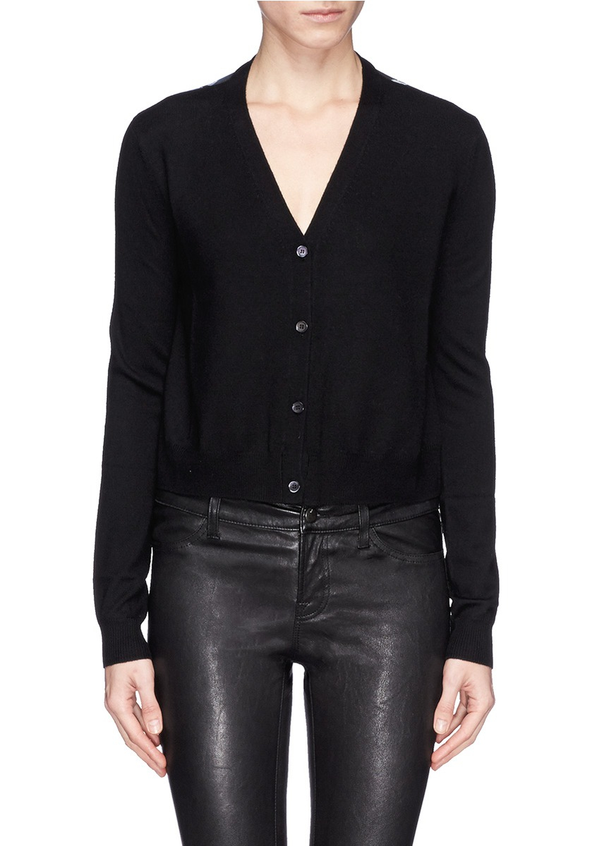 Mcq 'Festival Floral' Sheer Back Cropped Cardigan in Black | Lyst