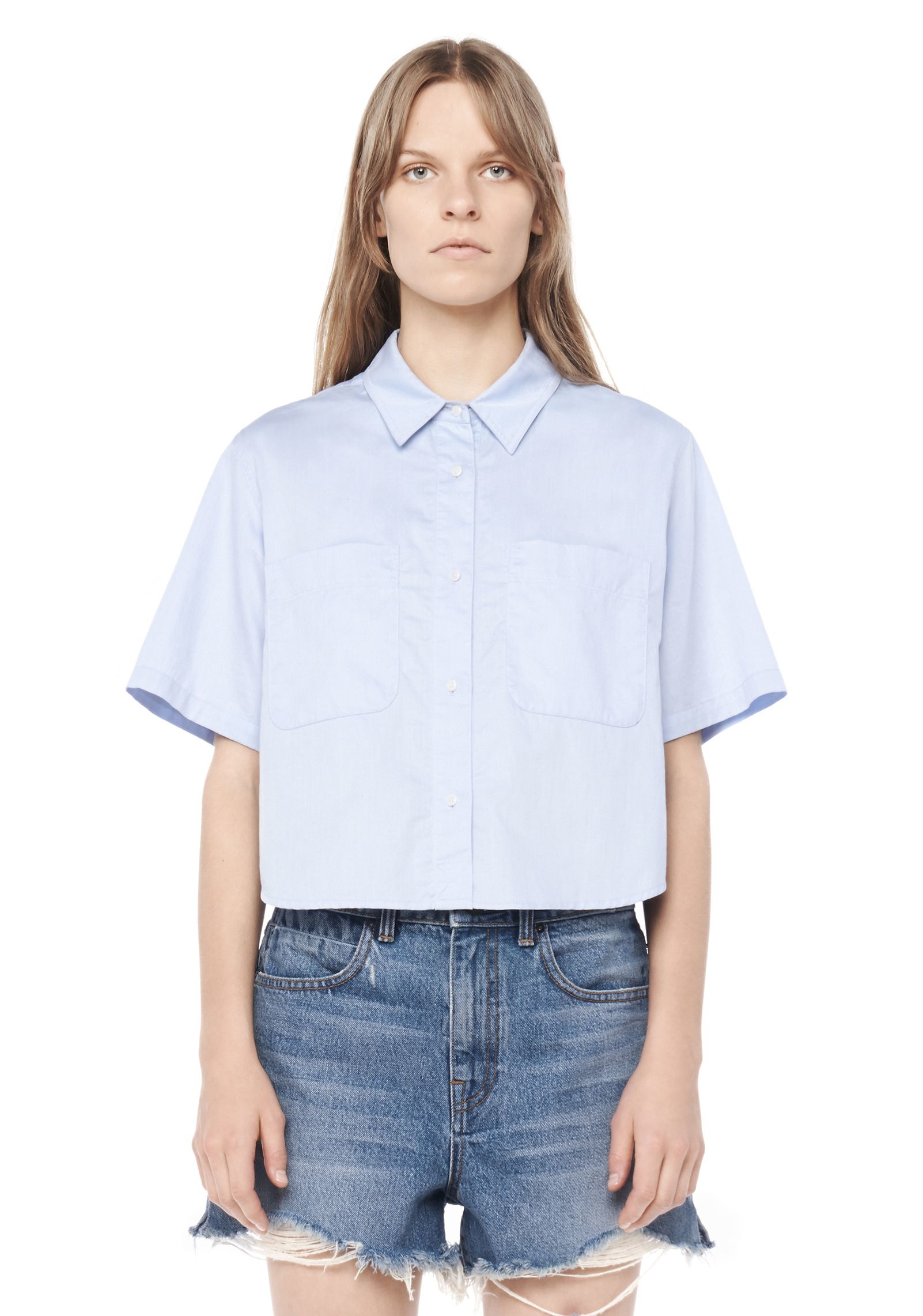 lyst t by alexander wang cropped short sleeve shirt in blue. Black Bedroom Furniture Sets. Home Design Ideas